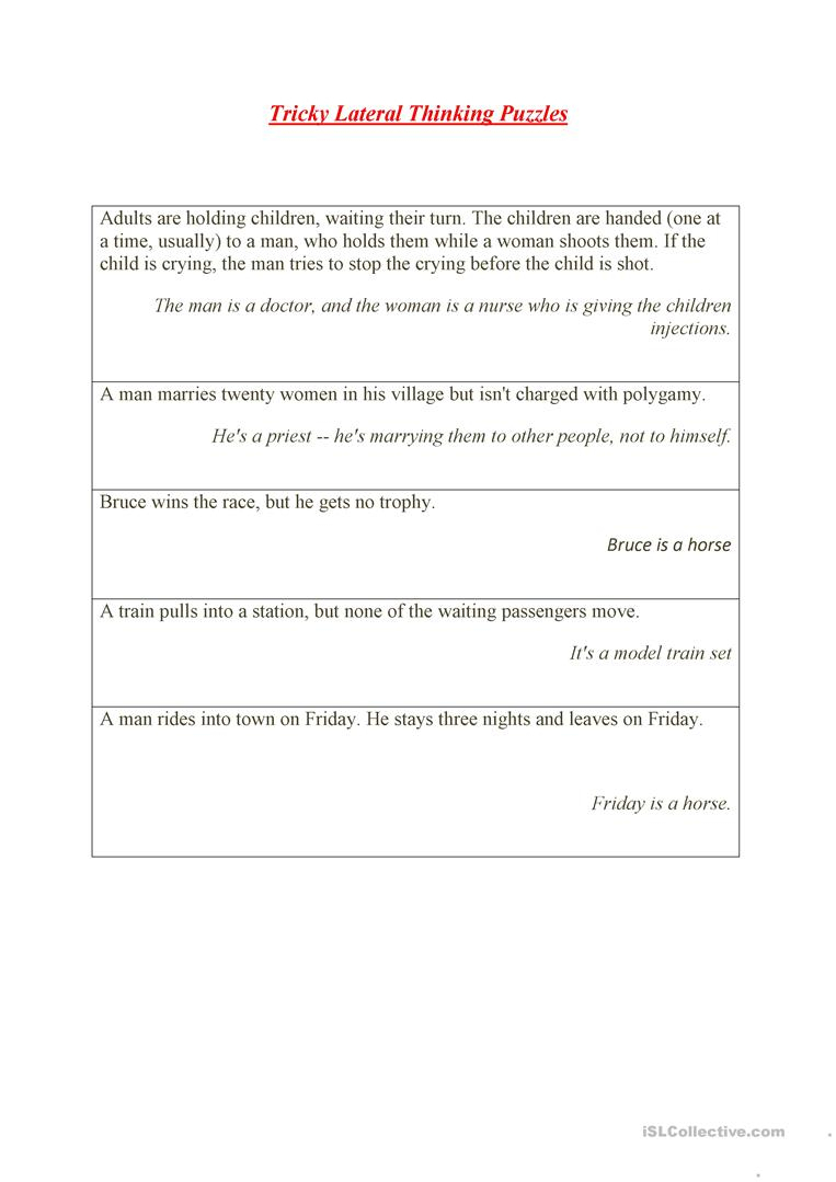 Tricky Lateral Thinking Puzzles Worksheet - Free Esl Printable - Printable Thinking Puzzles