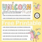 Unicorn Hunt Word Find Free Printable   Growing Play   Printable Unicorn Puzzle