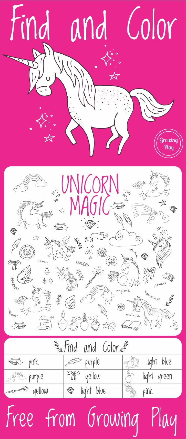 Unicorn Magic Find And Color | Puzzles | Unicorn, Unicorn Party - Printable Unicorn Puzzles