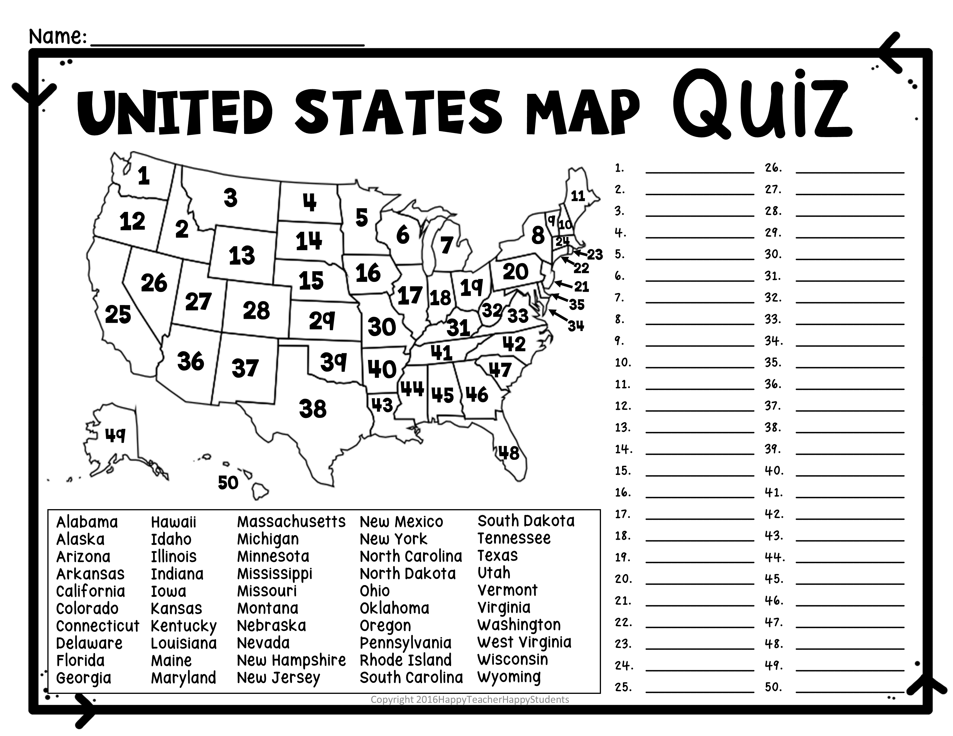 United States Map Quiz & Worksheet: Usa Map Test With Practice - 50 States Crossword Puzzle Printable