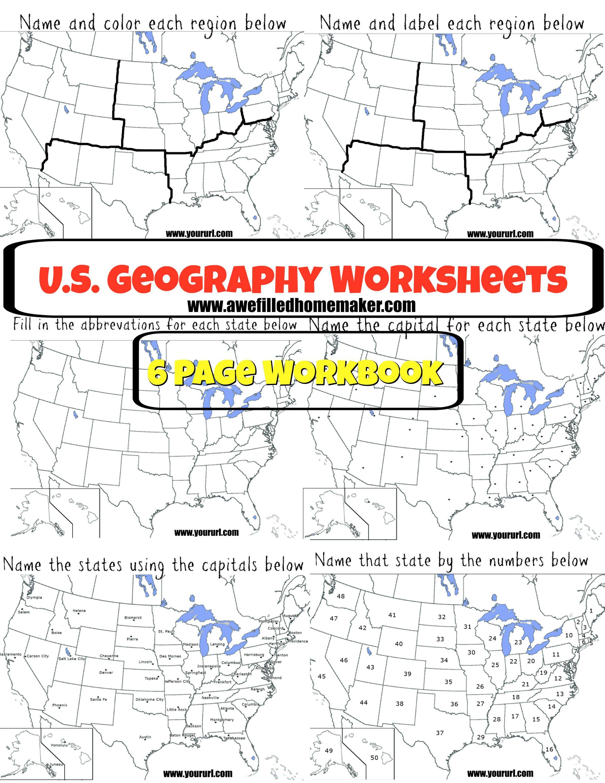Us Geography Printable Workbook | Homeschool-Geography | Us - Printable Geography Puzzles