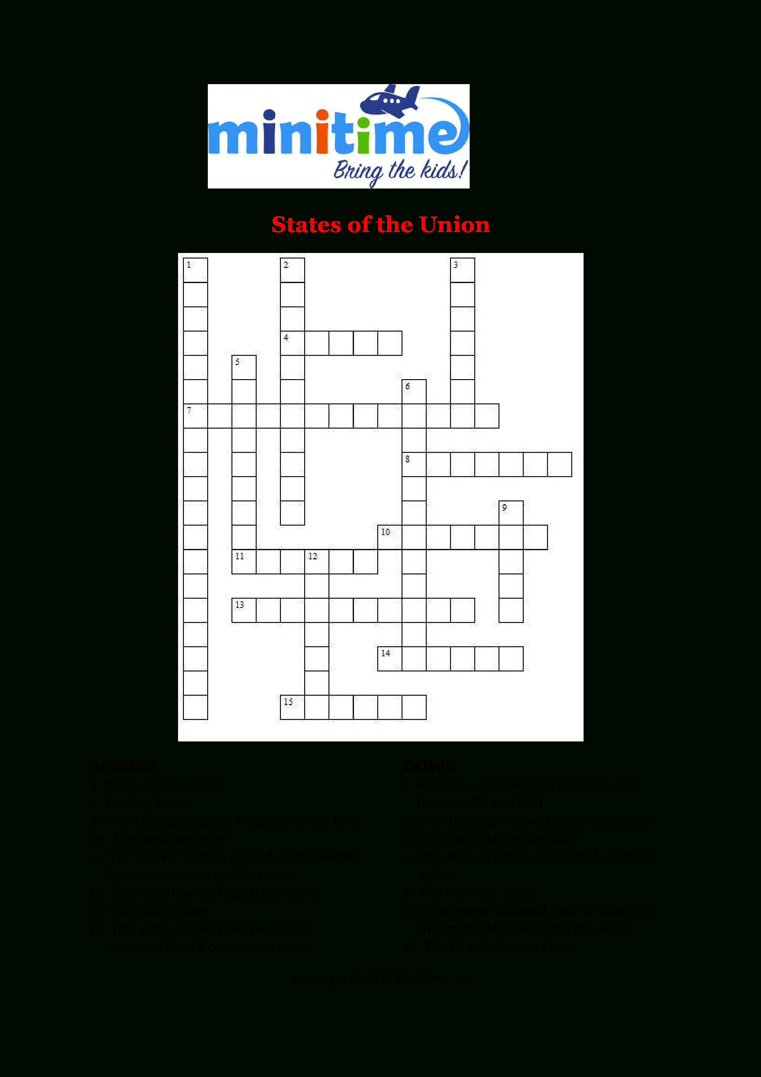 Us States Fun Facts Crossword Puzzles | Free Printable Travel - 50 States Crossword Puzzle Printable