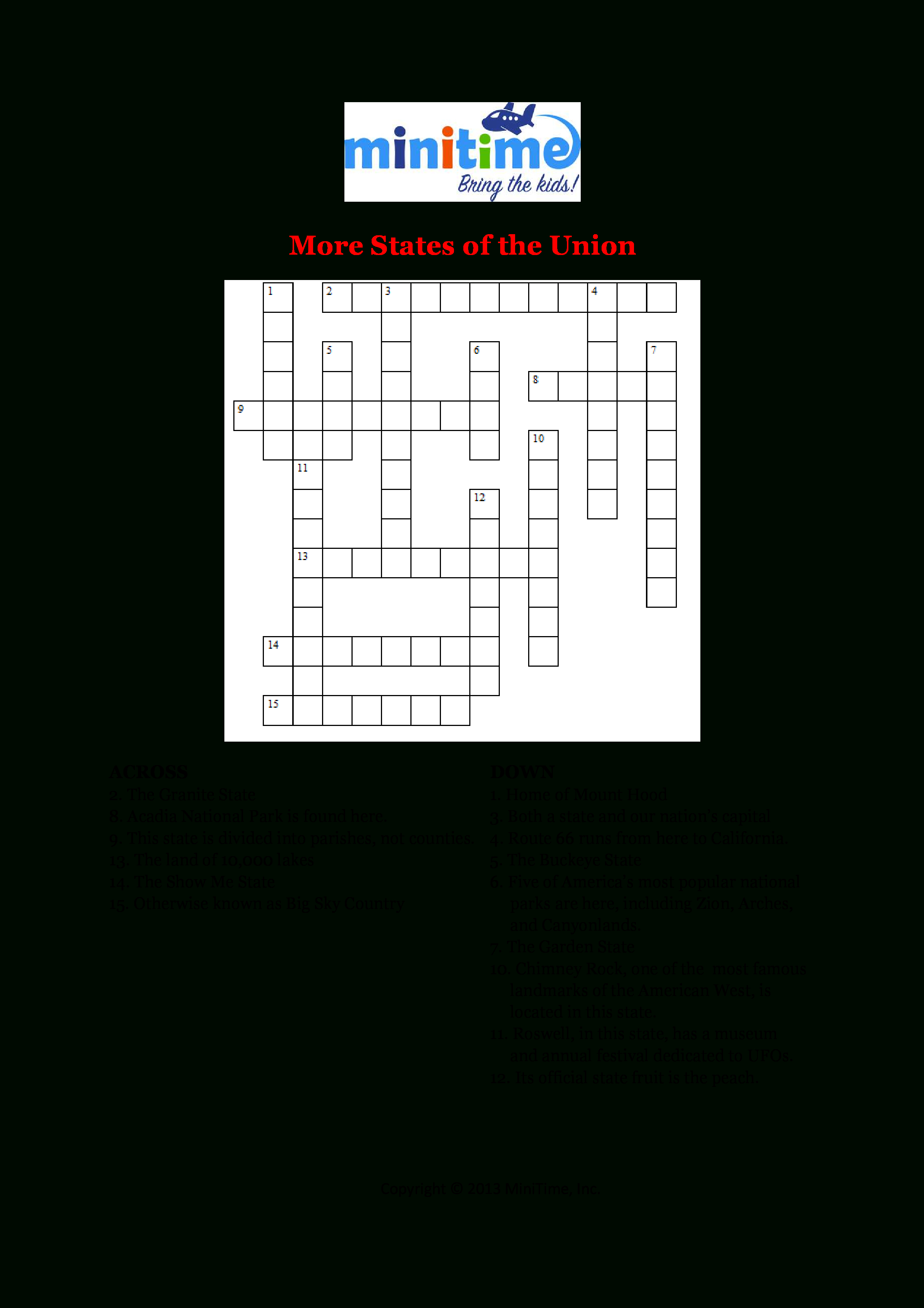 Us States Fun Facts Crossword Puzzles | Free Printable Travel - Printable Crossword Puzzles In Italian