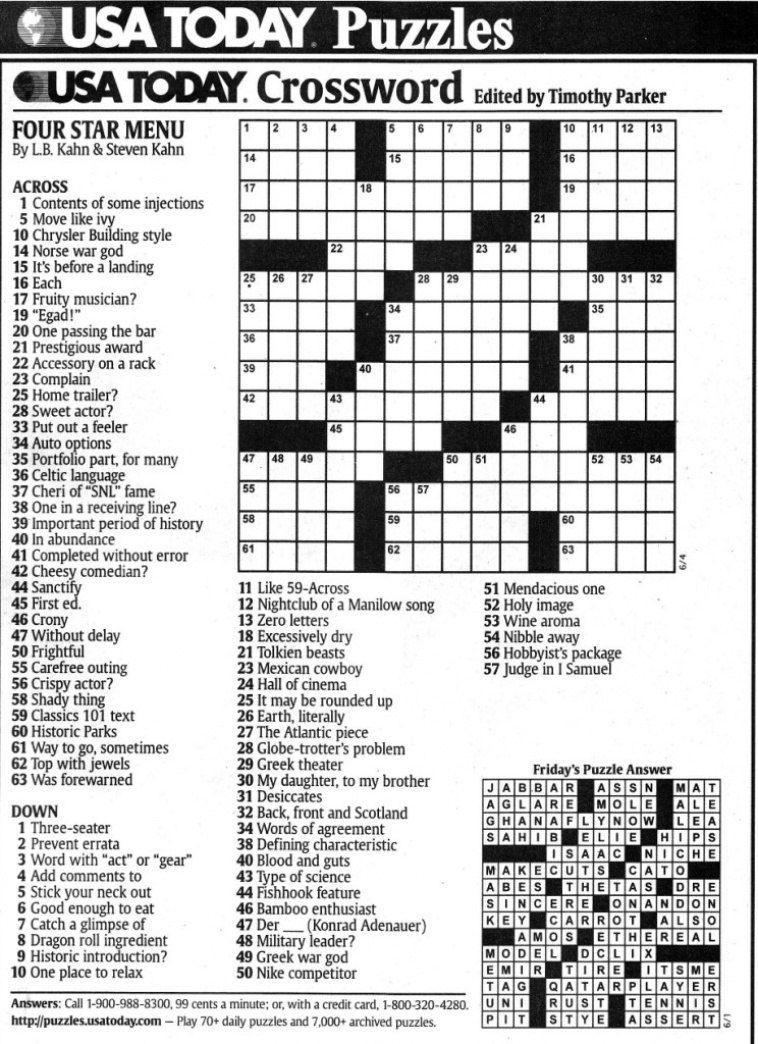 Usa Today Printable Crossword   Freepsychiclovereadings In Usa Today - Printable Usa Crossword
