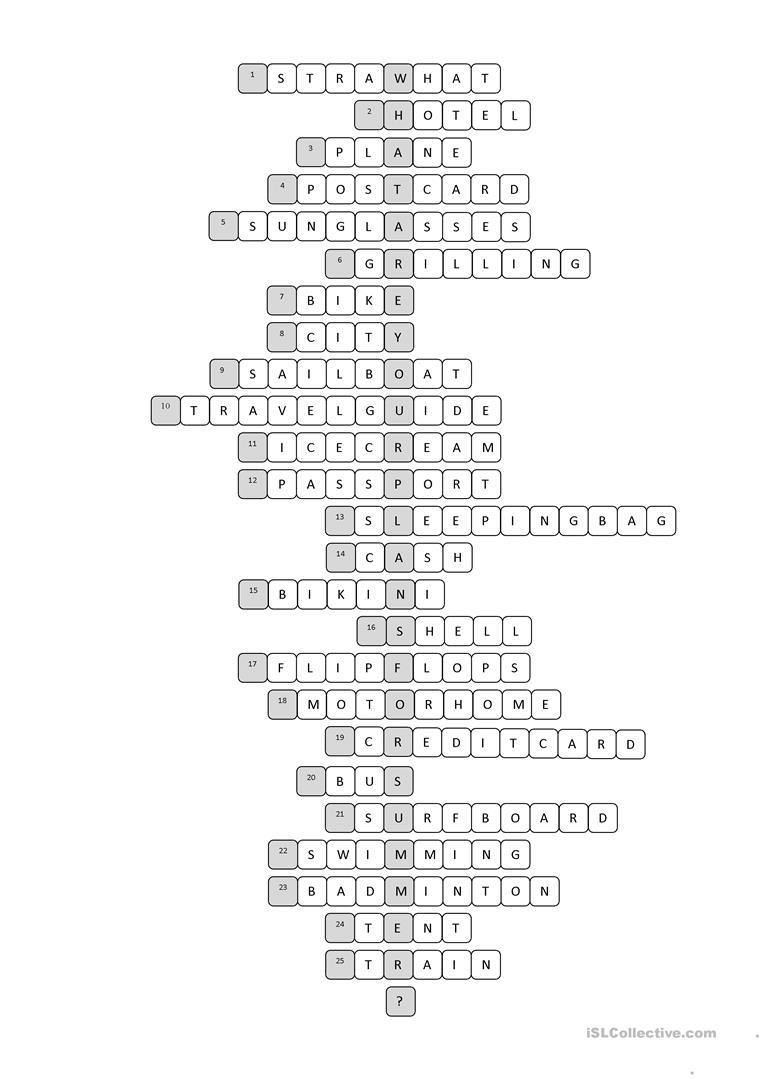 Vacation Crossword Puzzle Worksheet - Free Esl Printable Worksheets - Summer Crossword Puzzle Printable Middle School