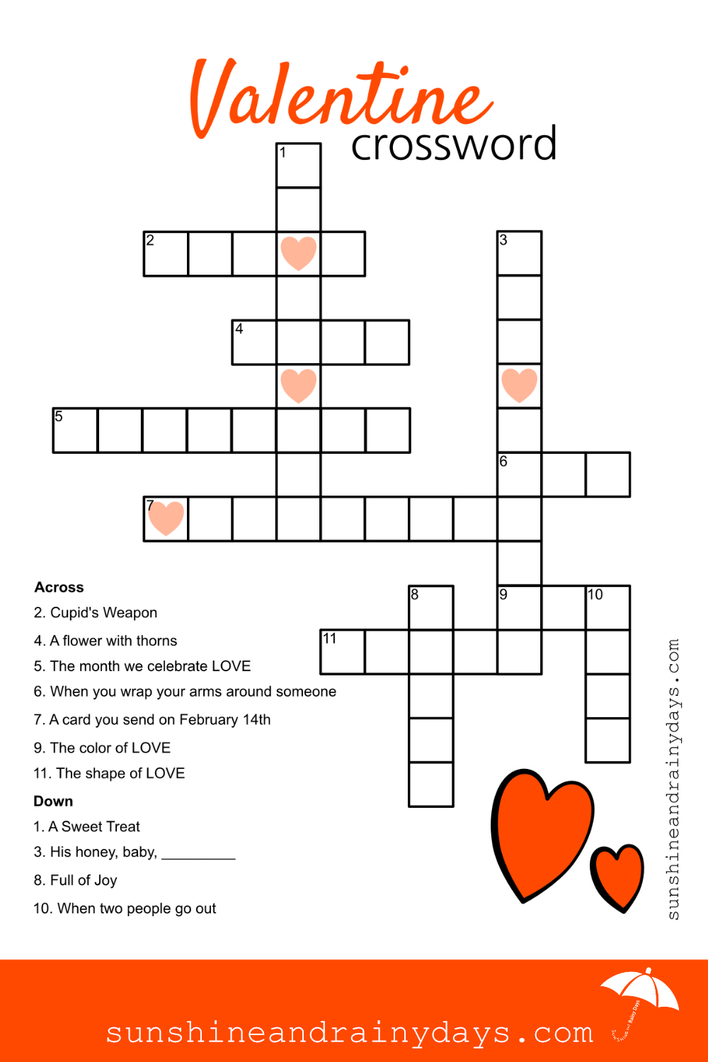 Valentine Crossword Puzzle - Sunshine And Rainy Days - Free Printable Valentine Crossword Puzzles