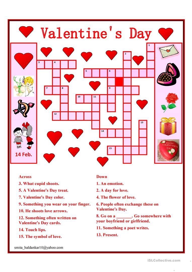 Valentine Day Crossword Worksheet - Free Esl Printable Worksheets - Free Printable Valentines Crossword