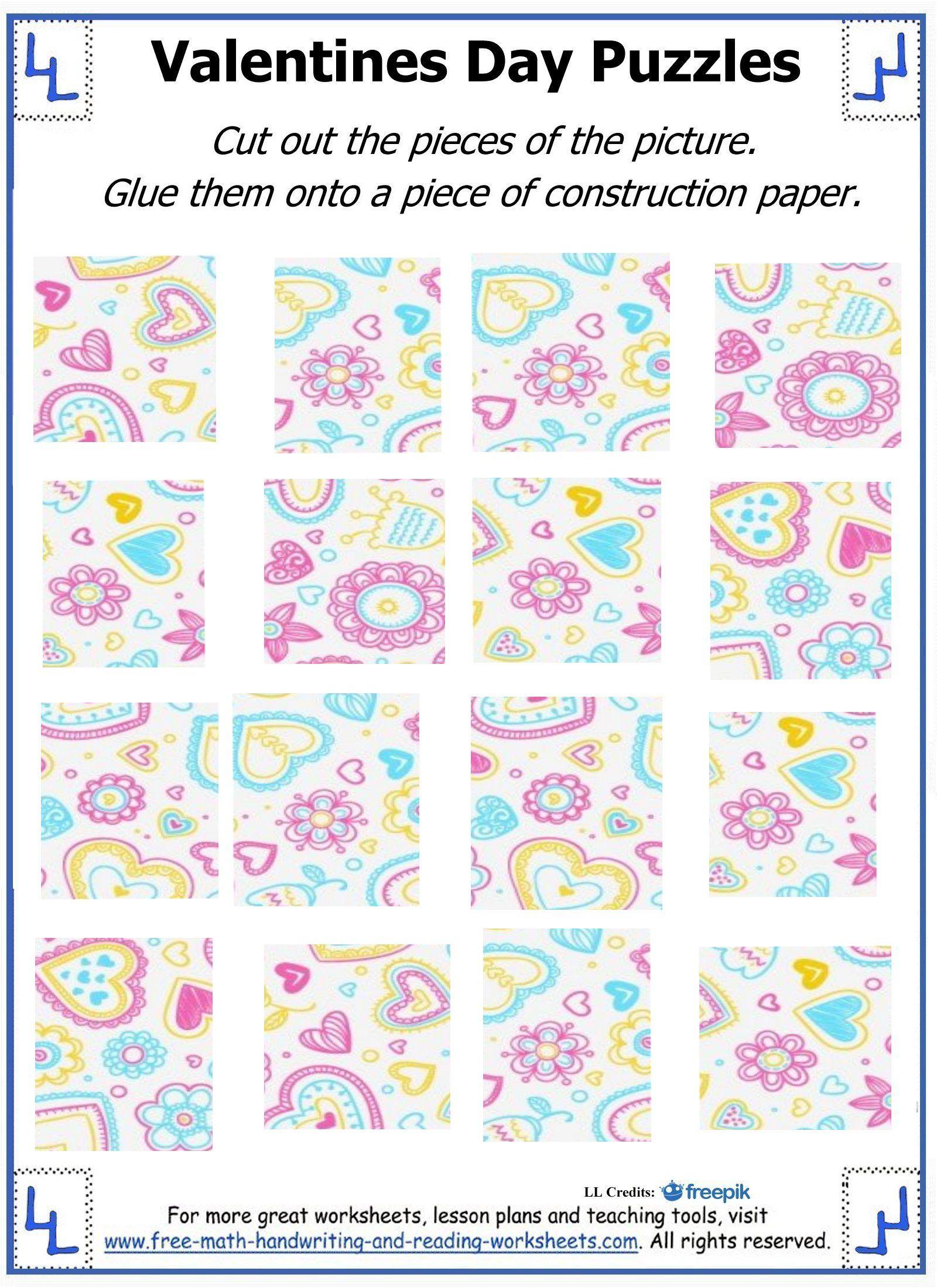 Valentine Day Puzzles - Printable Cut & Paste Puzzles   Valentine - Printable Valentine Puzzle