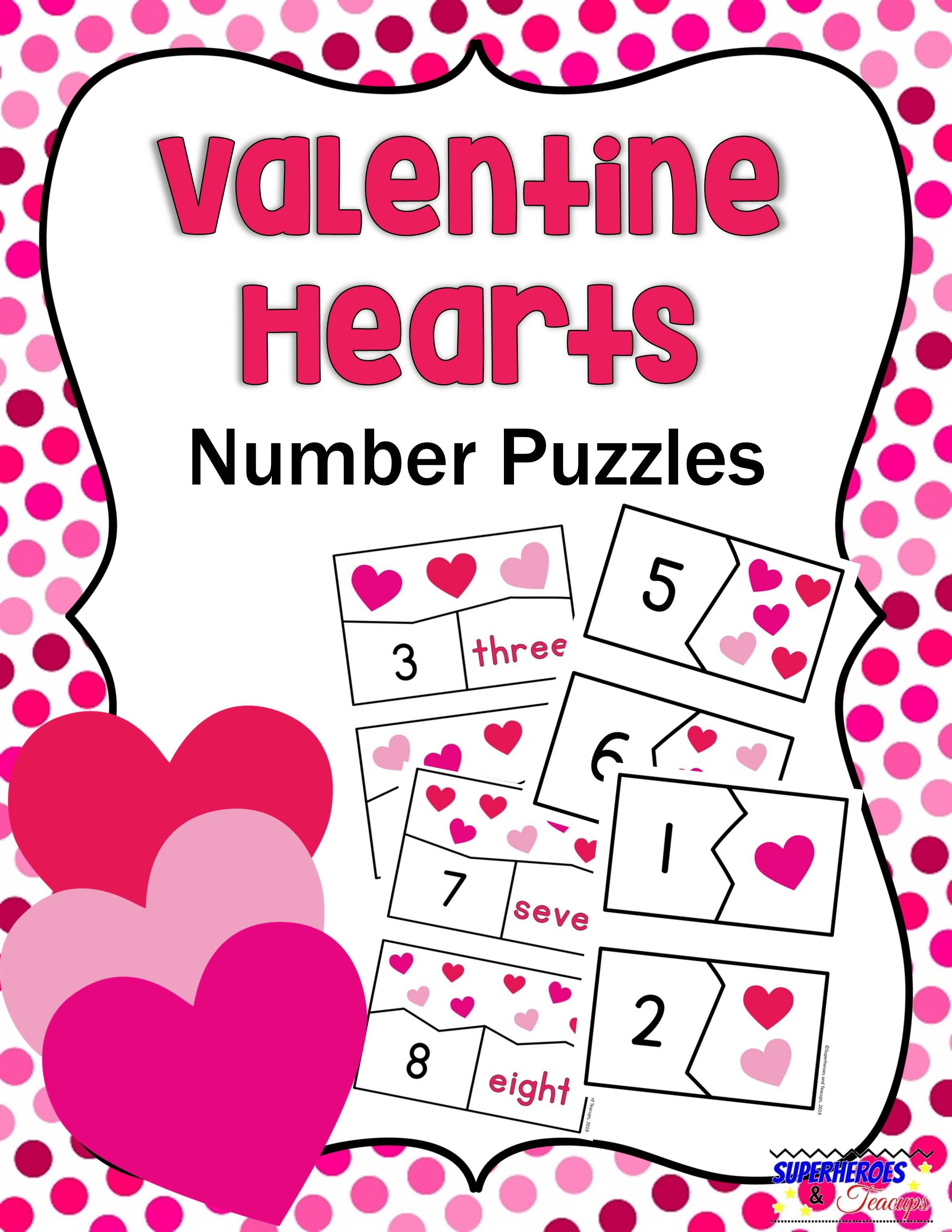 Valentine Hearts Number Puzzles Free Printable | Superheroes And - Printable Heart Puzzles