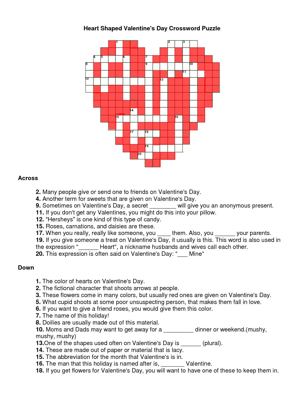 Valentines Day Crossword Puzzle | Will You Be My Valentine - Printable Valentine Crossword Puzzles