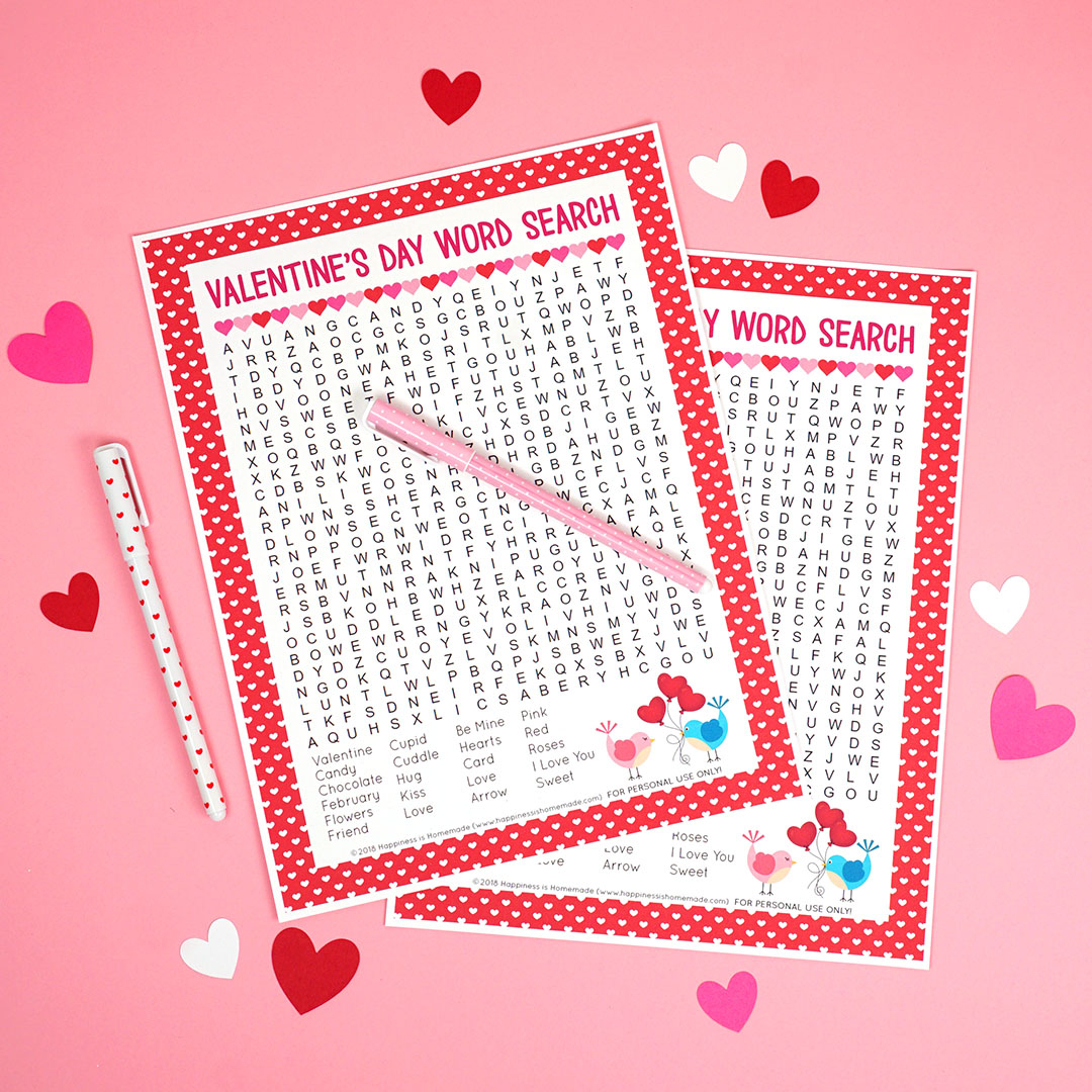 Valentine's Day Word Search Printable - Happiness Is Homemade - Printable Valentine Heart Puzzle
