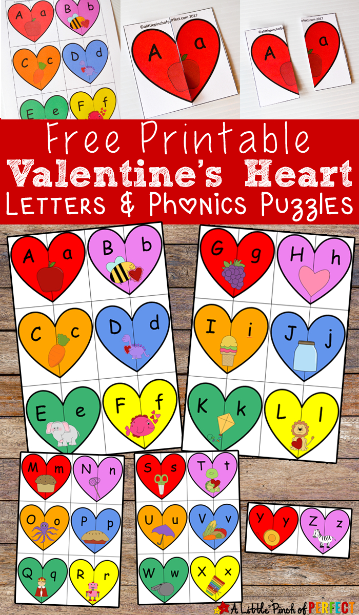Valentine's Heart Letters And Phonics Puzzles Free Printable - Free Printable Valentine Puzzles For Adults