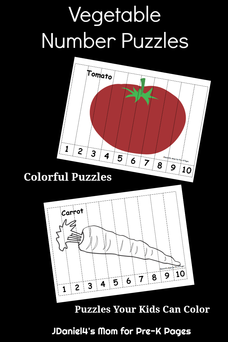 Vegetable Number Puzzles For Kids - Pre-K Pages - Printable Number Puzzles 1-10