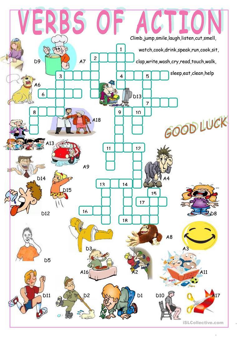 Verbs Of Action//crossword Puzzle Worksheet - Free Esl Printable - Worksheet Verb Puzzle