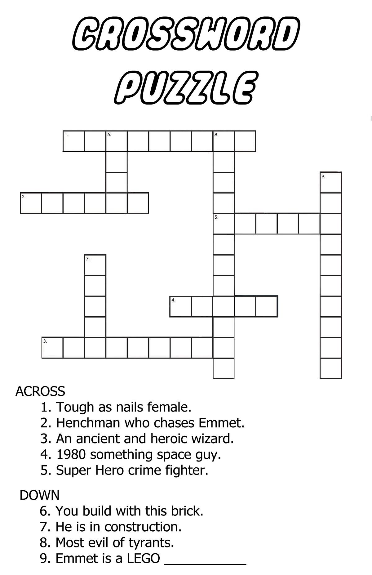 Very Easy Crossword Puzzles Fun | Kiddo Shelter - Printable Elementary Crossword Puzzles