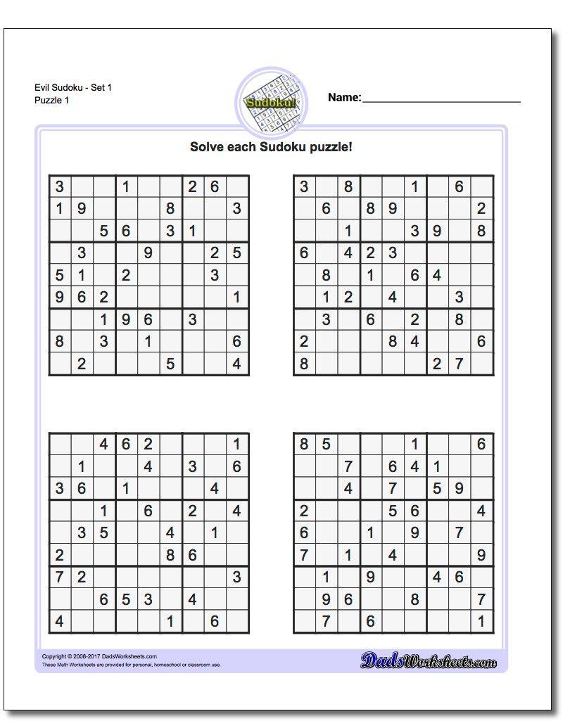 Very Hard Sudoku Puzzle To Print 5 - Free Printable Sudoku With - Printable Sudoku Puzzles Easy #1 Answers