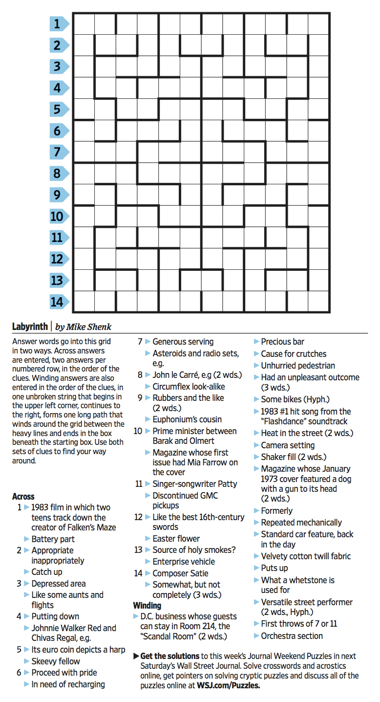 Wall Street Journal Crossword Contest - Journal Foto And Wallpaper - Printable Wall Street Journal Crossword Puzzle
