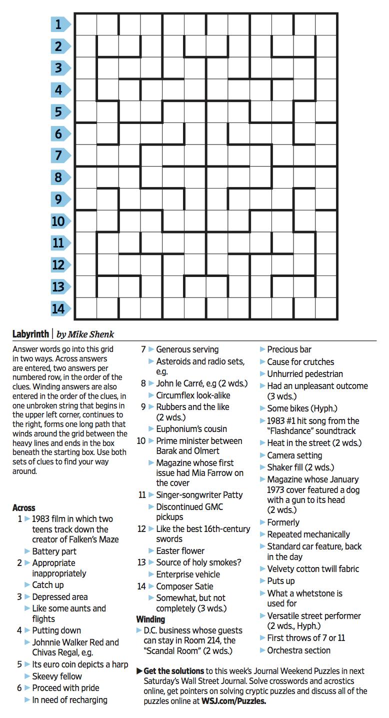Wall Street Journal Crossword Contest - Journal Foto And Wallpaper - Printable Wsj Crossword