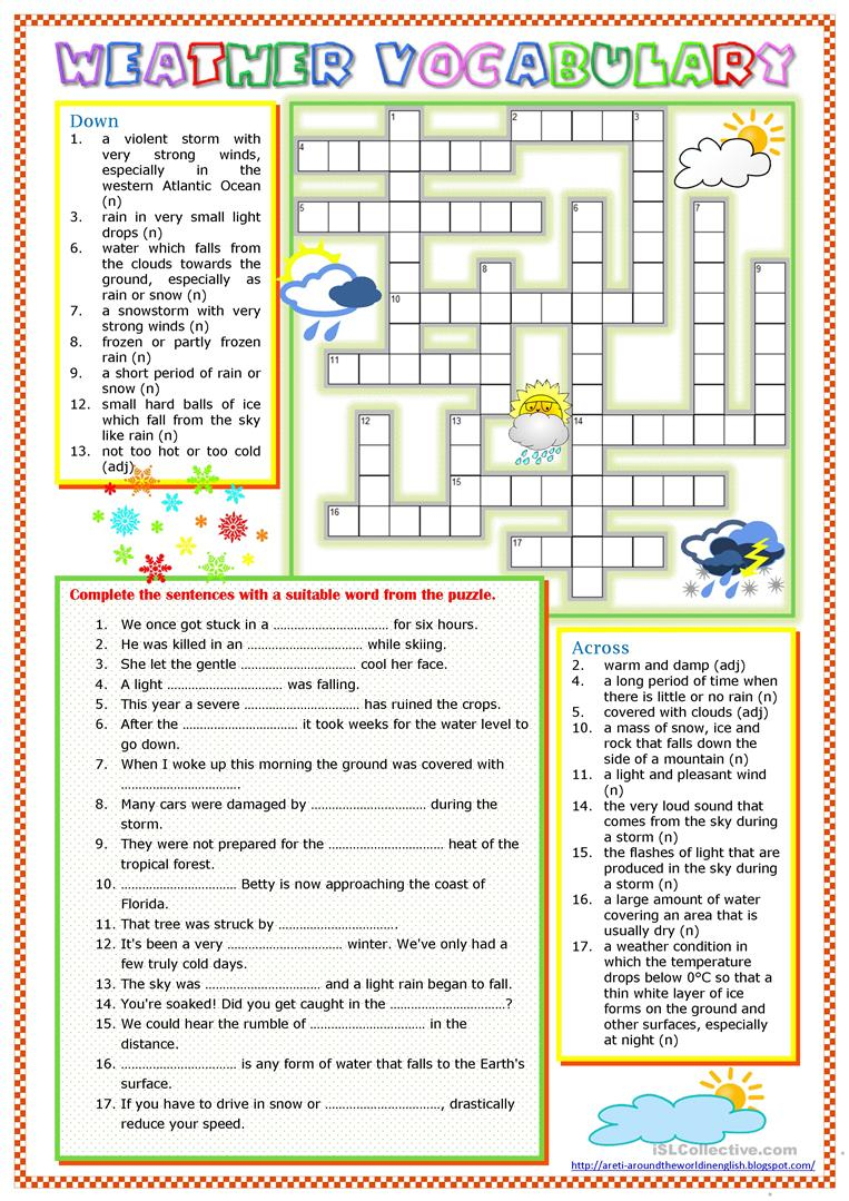 Weather Vocabulary Worksheet - Free Esl Printable Worksheets Made - Printable Weather Crossword Puzzle