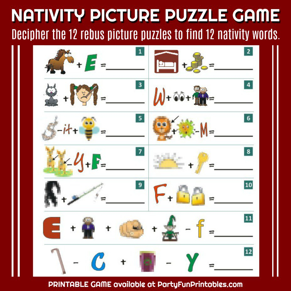 """Wendy Legendre On Twitter: """"nativity Christmas Picture Puzzle Game - Printable Christmas Rebus Puzzles"""