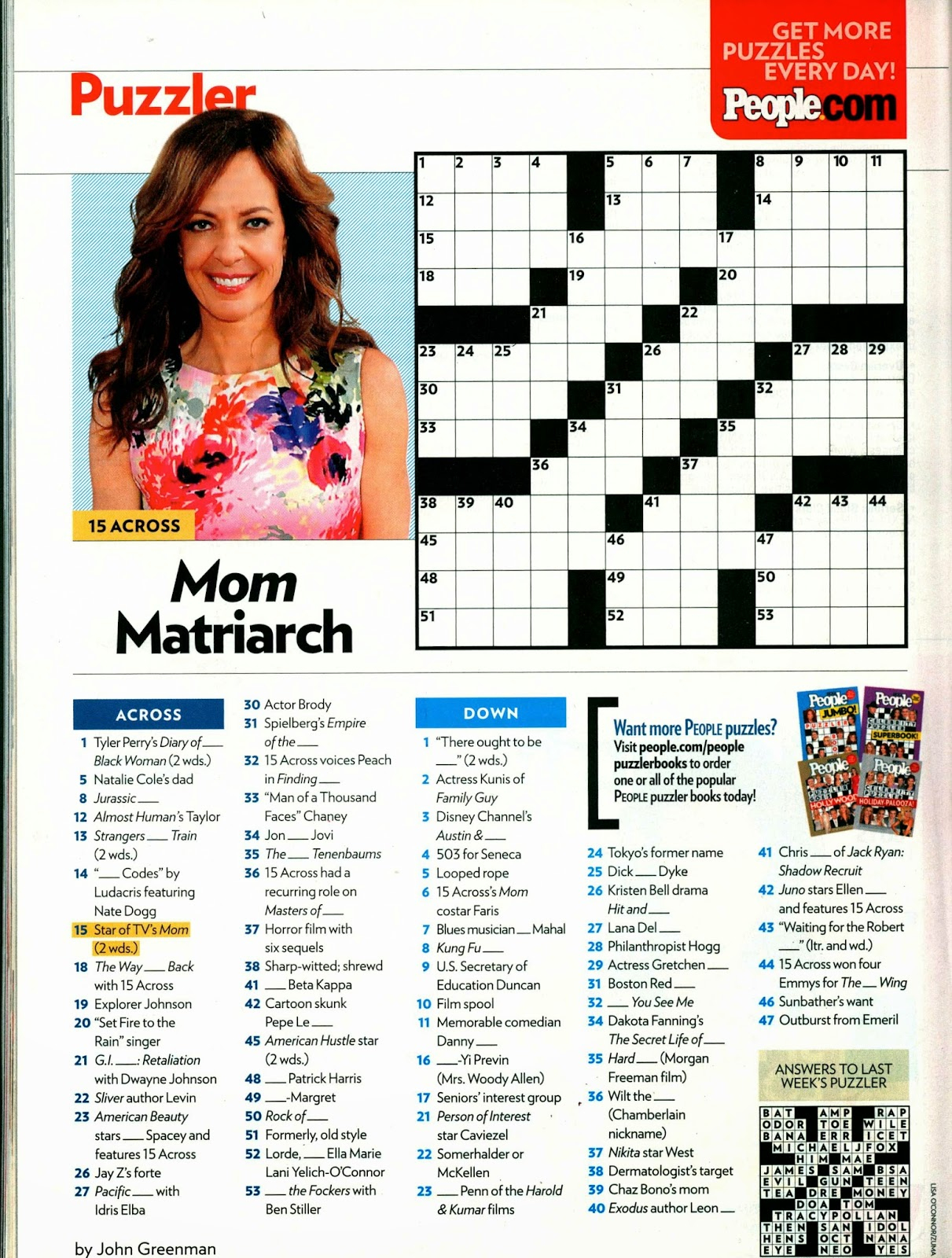 When Write Is Wrong: Down For The Count - Printable People Magazine Crossword Puzzles