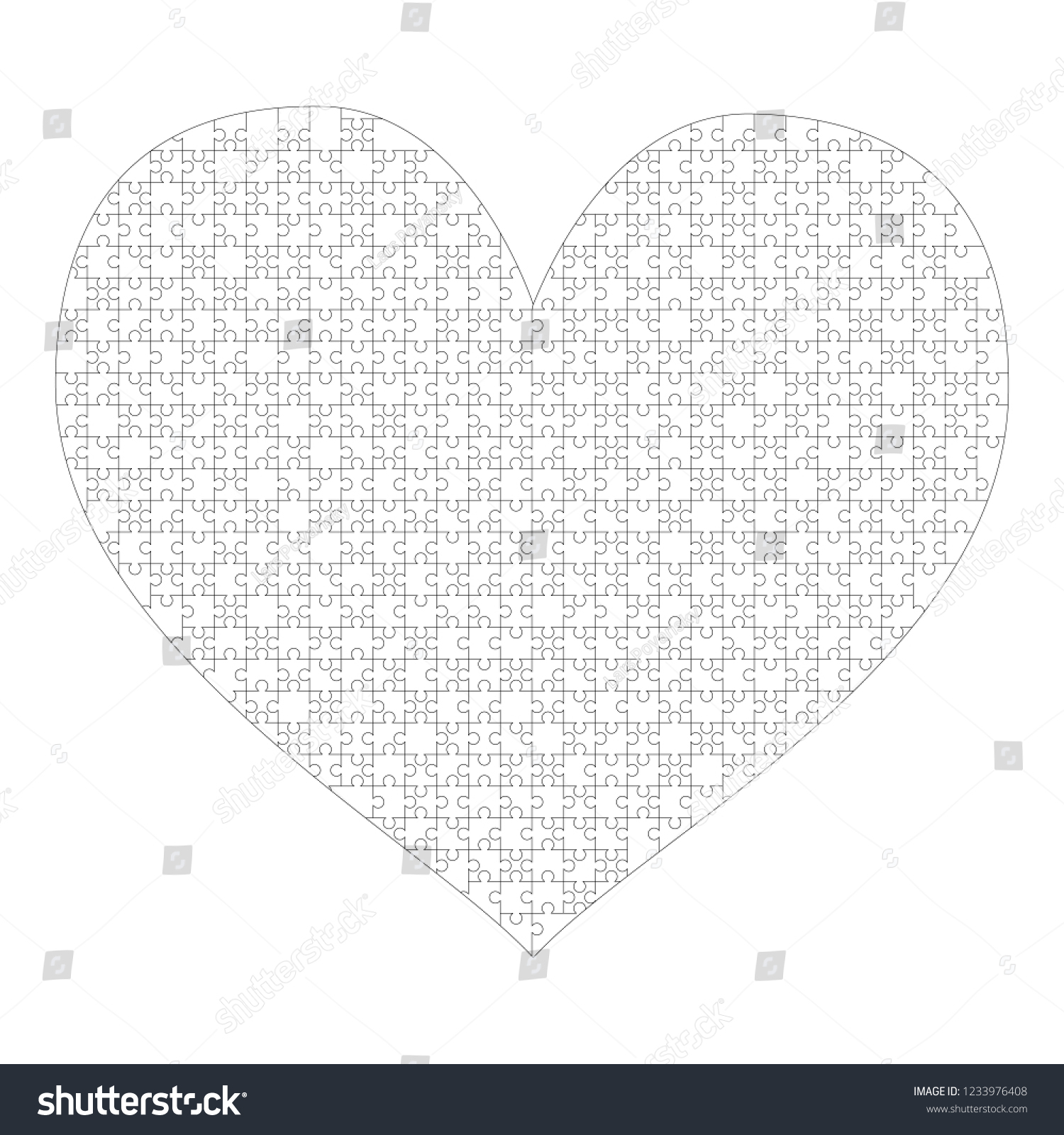 White Puzzles Pieces Arranged Heart Shape Stock Illustration - Printable Puzzle Heart