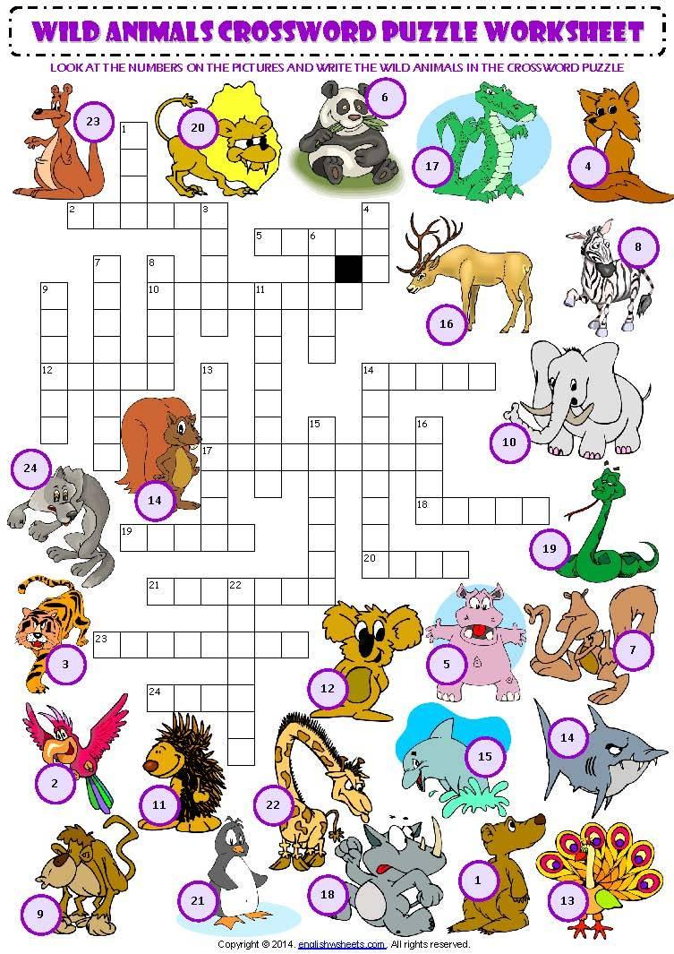 Wild Animals Crossword Puzzle | Lela - Animal Crossword Puzzle Printable