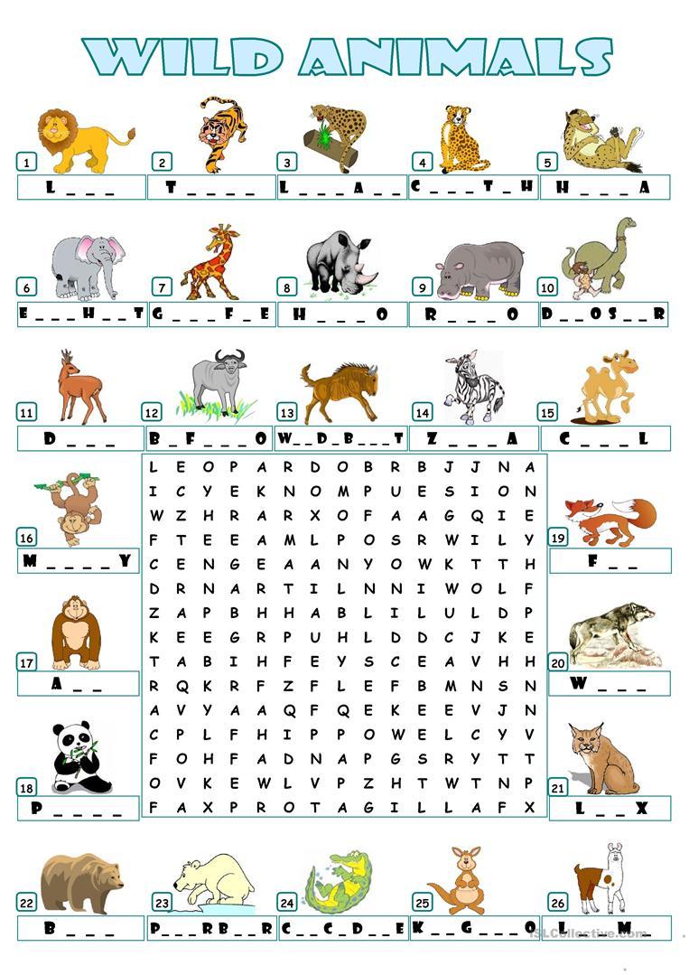 Wild Animals - Wordsearch Worksheet - Free Esl Printable Worksheets - Wildlife Crossword Puzzle Printable