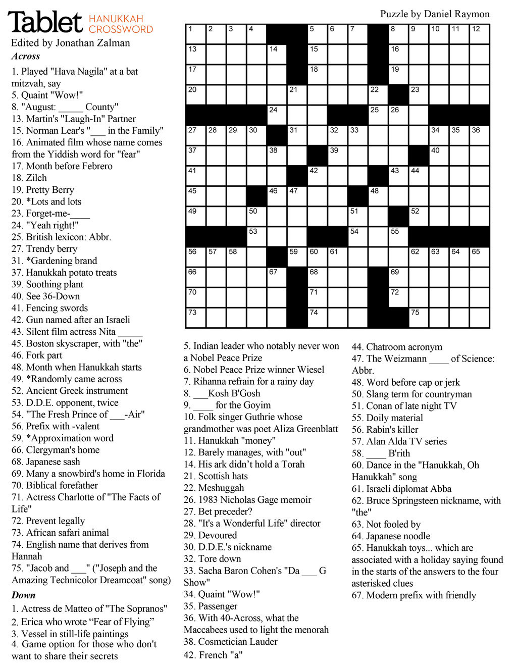 Wind Down With Our Hanukkah Crossword Puzzle! – Tablet Magazine - Printable Crossword With Solutions