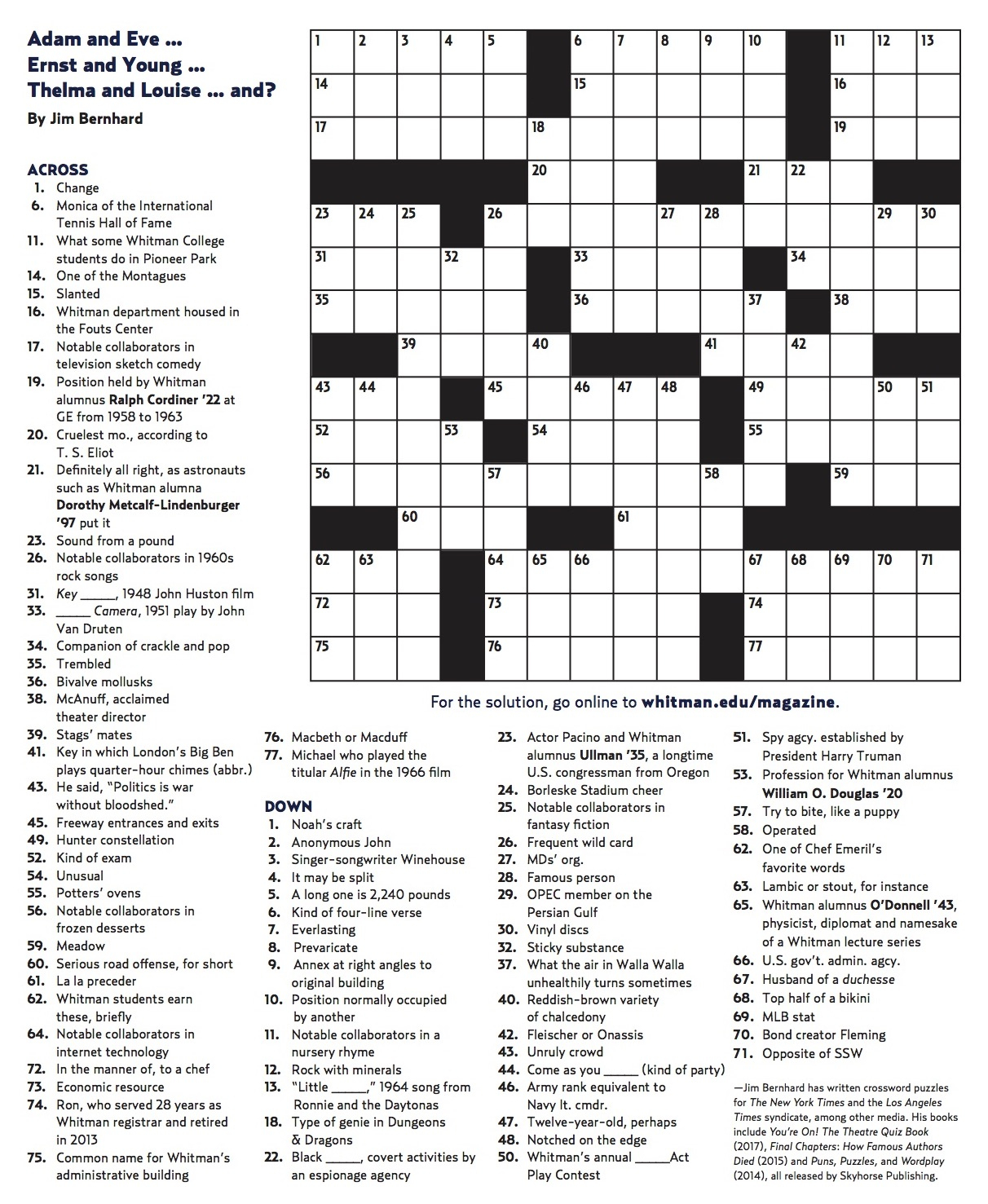 Winter 2018 Crossword | Whitman College - Printable Crossword 2018