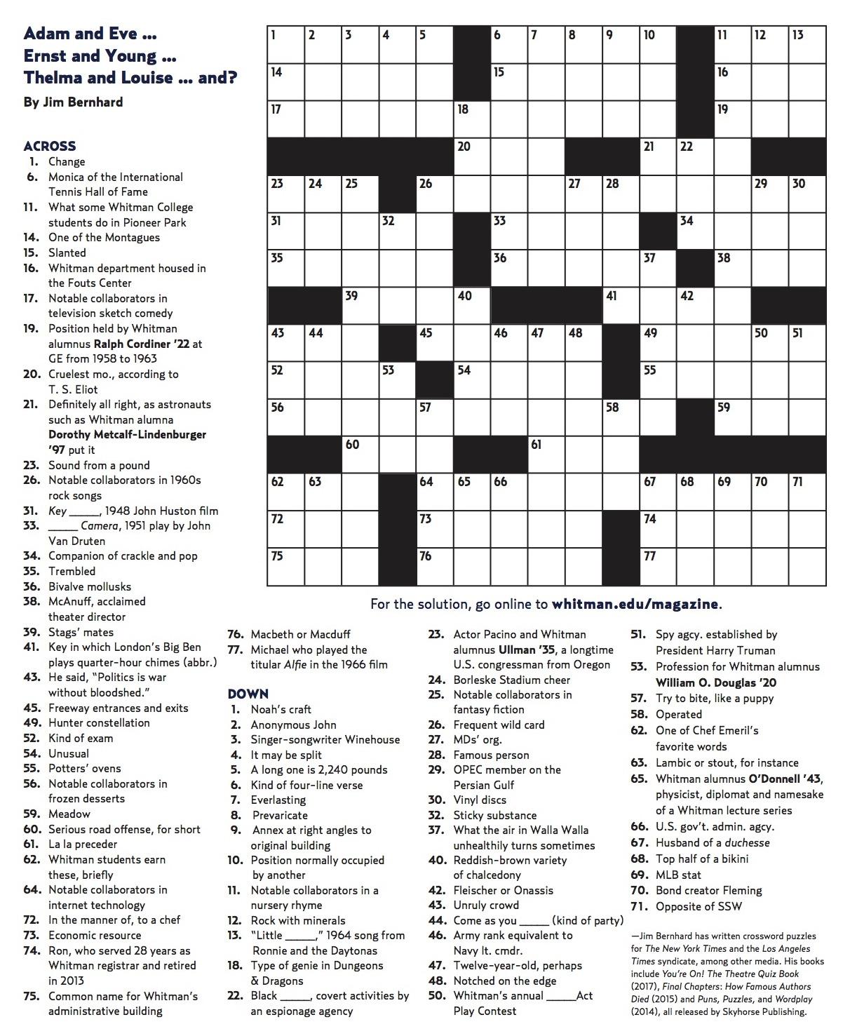 Winter 2018 Crossword | Whitman College - Printable Sunday Crossword 2018