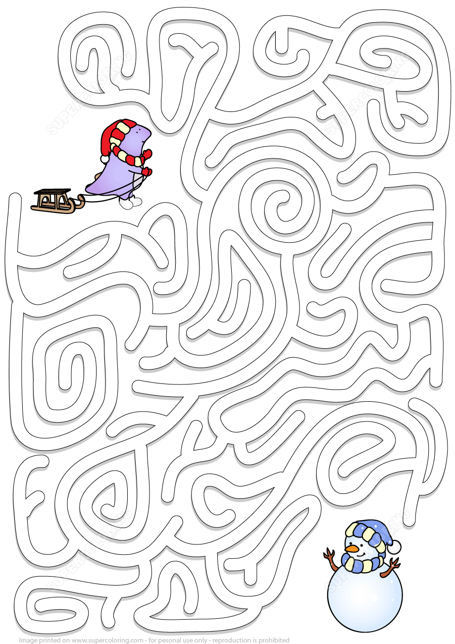 Winter Maze Puzzle | Free Printable Puzzle Games - Printable Labyrinth Puzzles