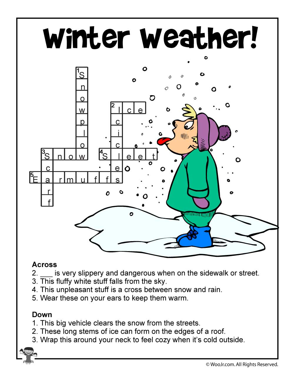 Winter Word Puzzles & Compound Words Vocabulary Worksheets   Woo! Jr - Printable Compound Word Crossword Puzzle