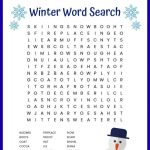 Winter Word Search Printable Worksheet With 24 Winter Themed   Printable Winter Crossword Puzzle