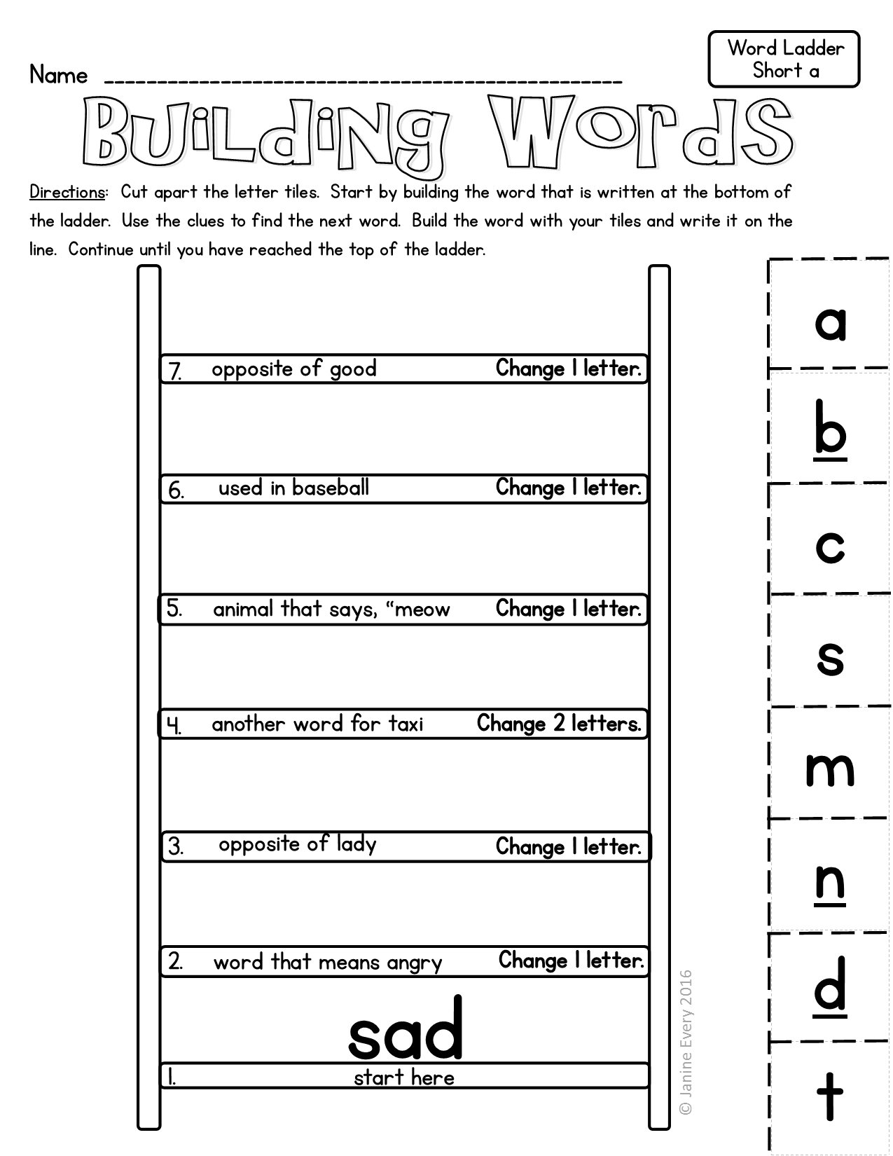 Word Ladders: Hands-On Printable Word Puzzles | First Grade Lessons - Printable Phonics Puzzles