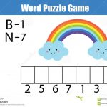 Words Puzzle Children Educational Game With Numbers Code. Stock   Printable Rainbow Number Puzzle