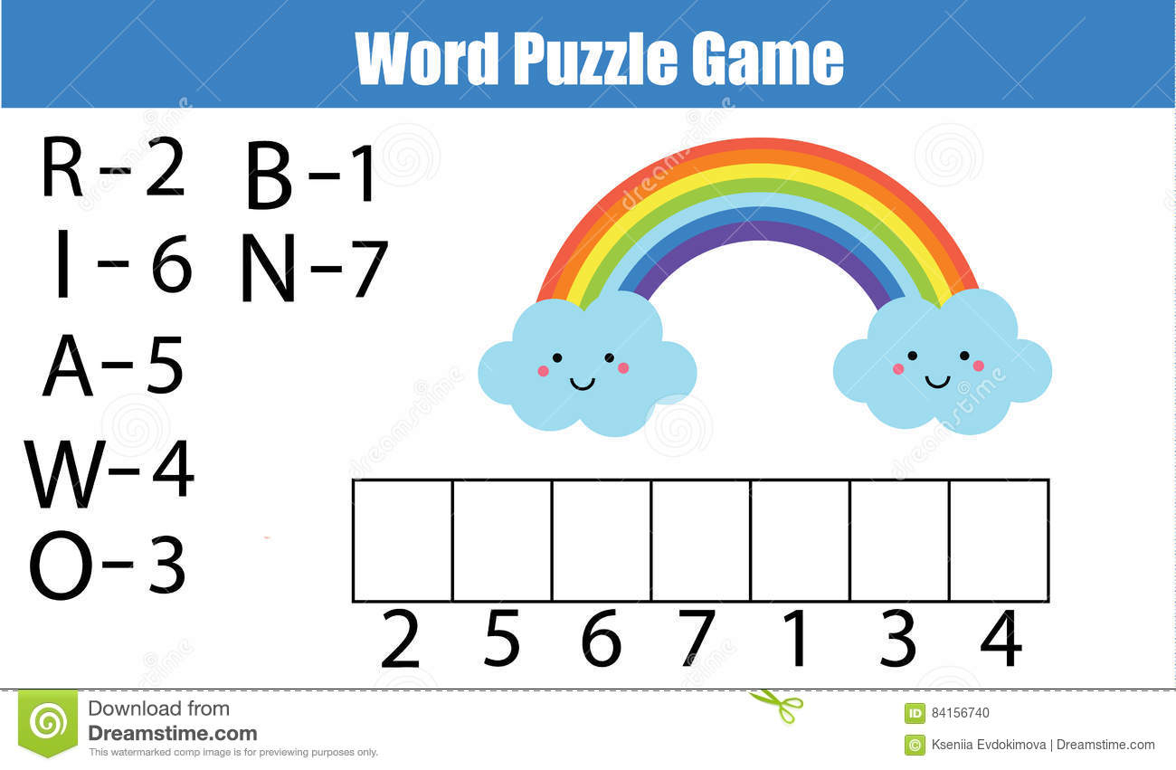 Words Puzzle Children Educational Game With Numbers Code. Stock - Printable Rainbow Number Puzzle