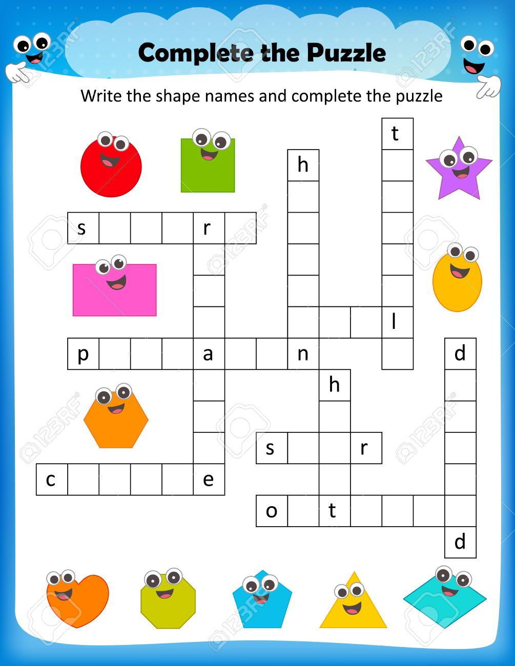 Worksheet - Complete The Crossword Puzzle 2D Shapes Worksheet - Worksheet On Puzzle