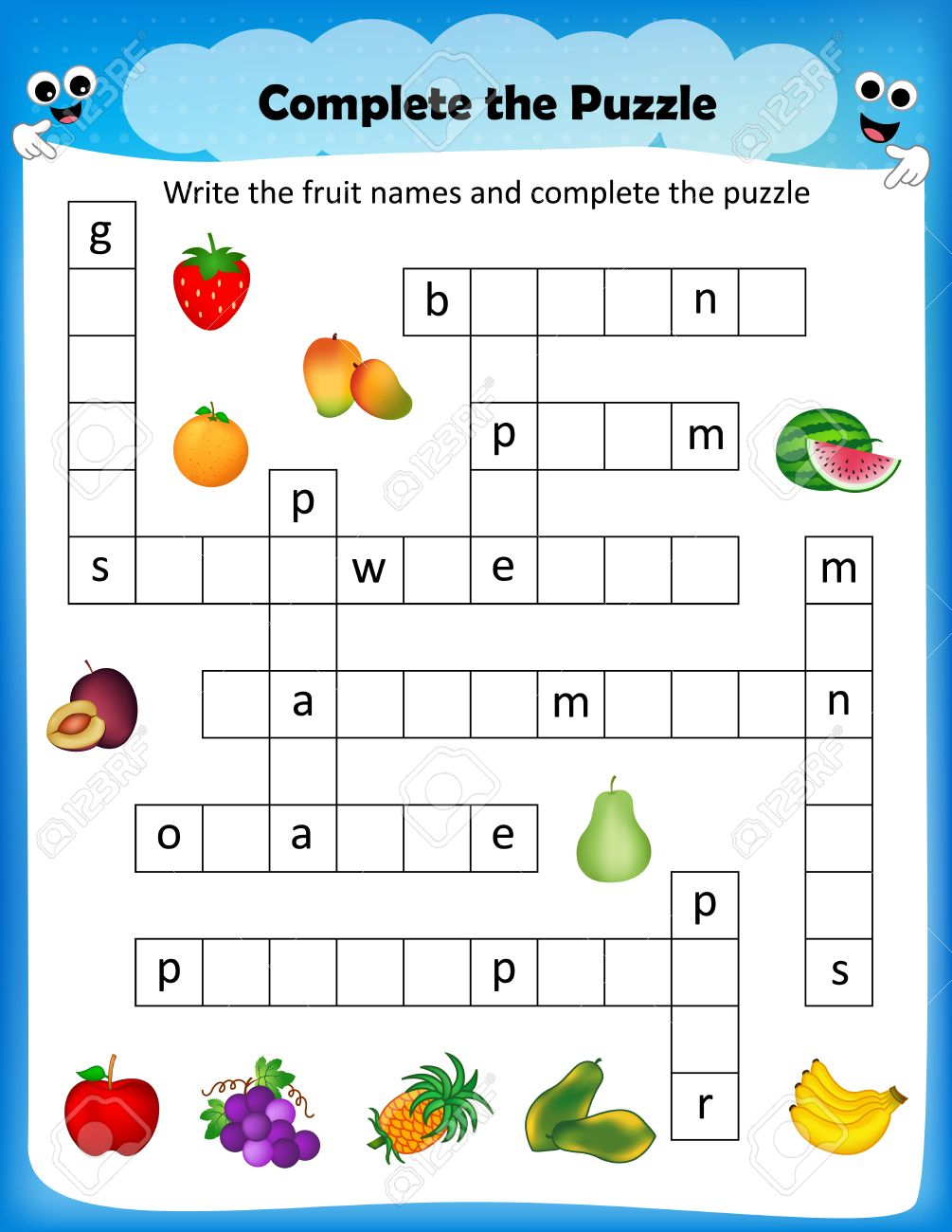 Worksheet - Complete The Crossword Puzzle Fruits Worksheet For - Worksheet On Puzzle