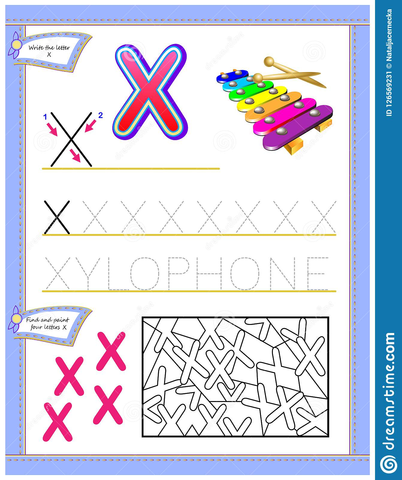Worksheet For Kids With Letter X For Study English Alphabet. Logic - X Puzzle Worksheet