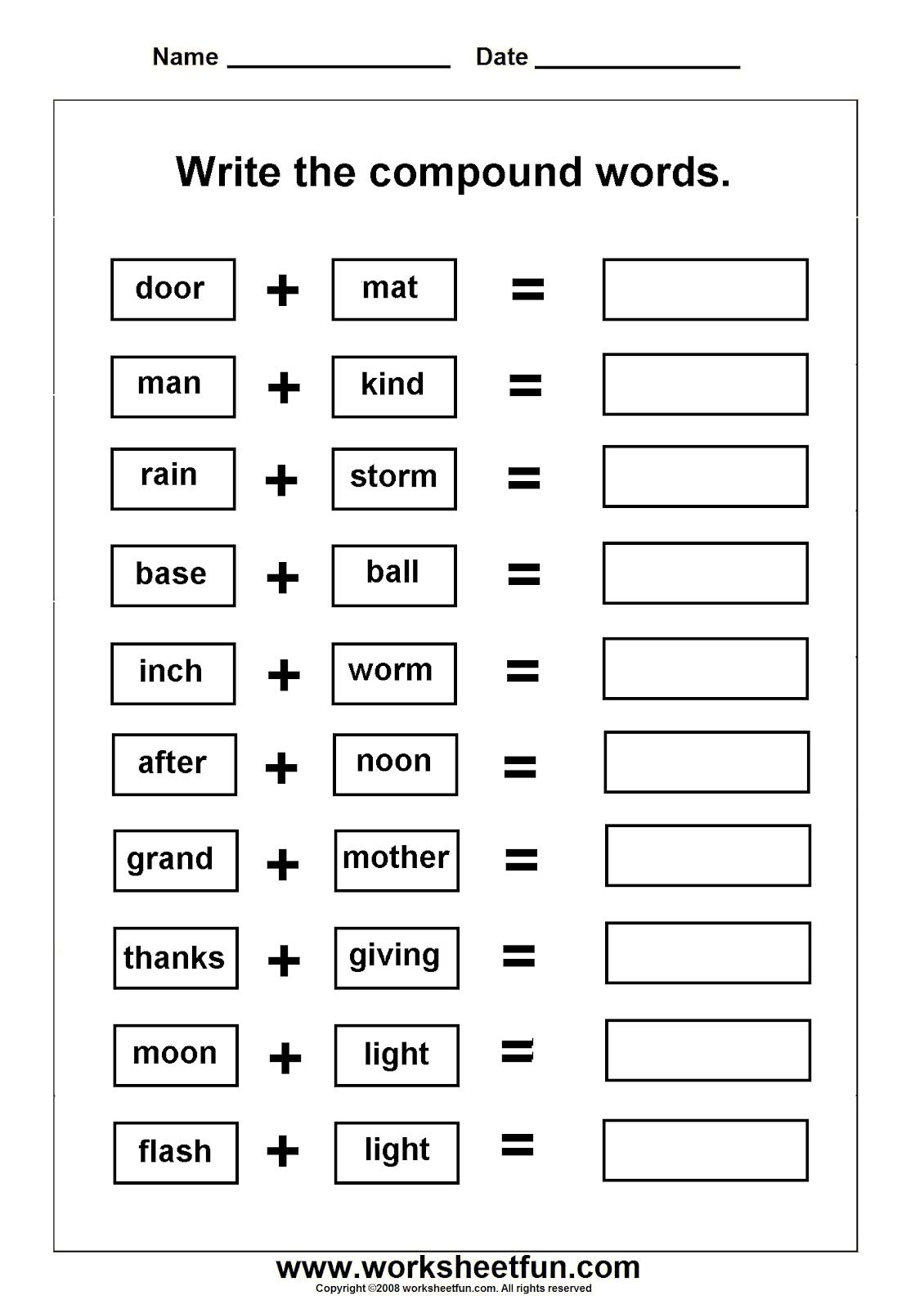 Worksheets On Compound Words With Pictures   Ela Activities - Printable Compound Word Crossword Puzzle
