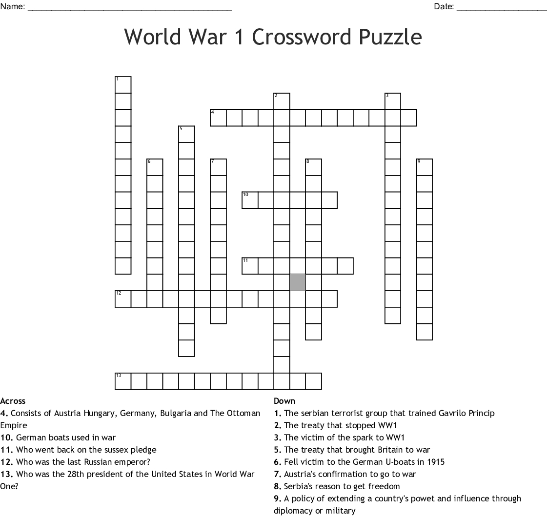 World War 1 Crossword Puzzle Crossword - Wordmint - Wwi Crossword Puzzle Printable
