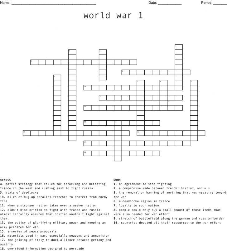 Wwi Crossword Puzzle Printable