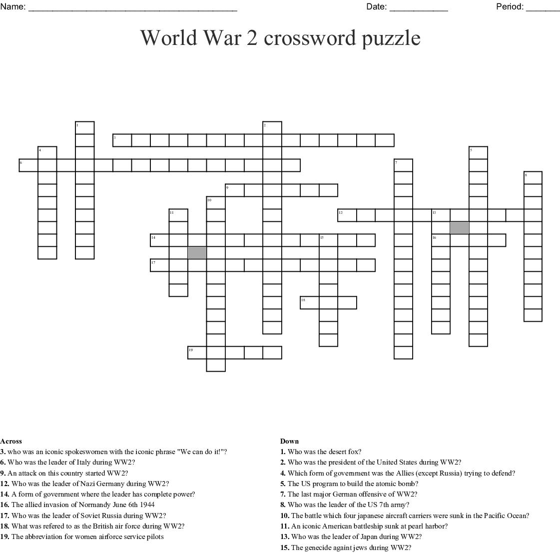 World War 2 Crossword Puzzle Crossword - Wordmint - Wwii Crossword Puzzle Printable