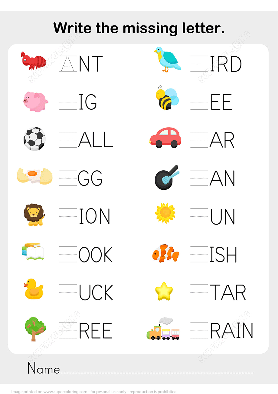 Write The Missing Letter In Words Worksheet Copy   Free Printable - Printable Letter Puzzles