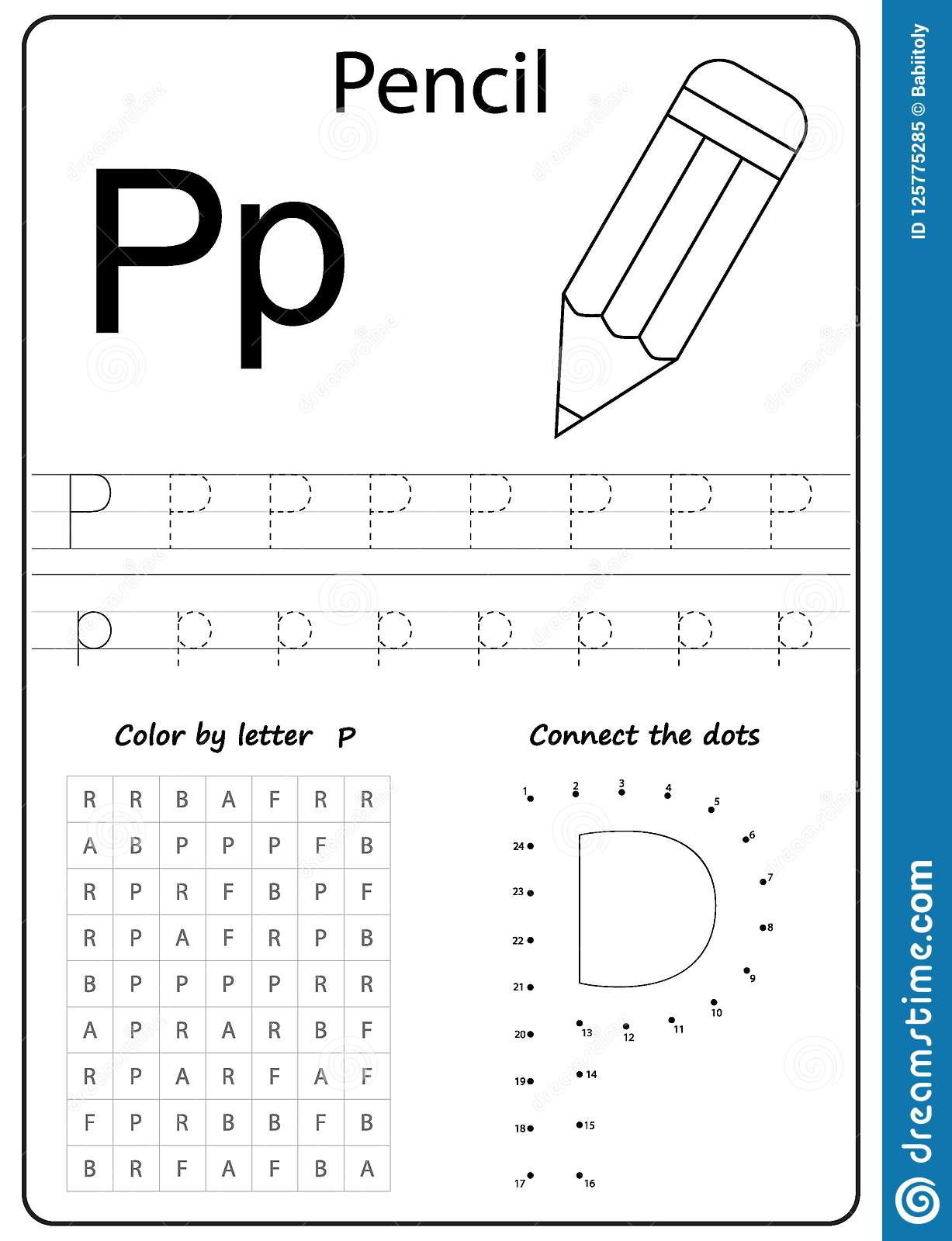 Writing Letter P. Worksheet. Writing A-Z, Alphabet, Exercises Game - Letter P Puzzle Printable
