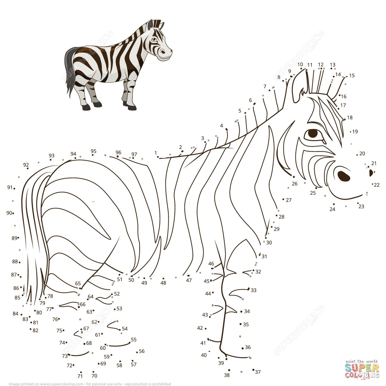Zebra Dot To Dot | Free Printable Coloring Pages - Printable Zebra Puzzle