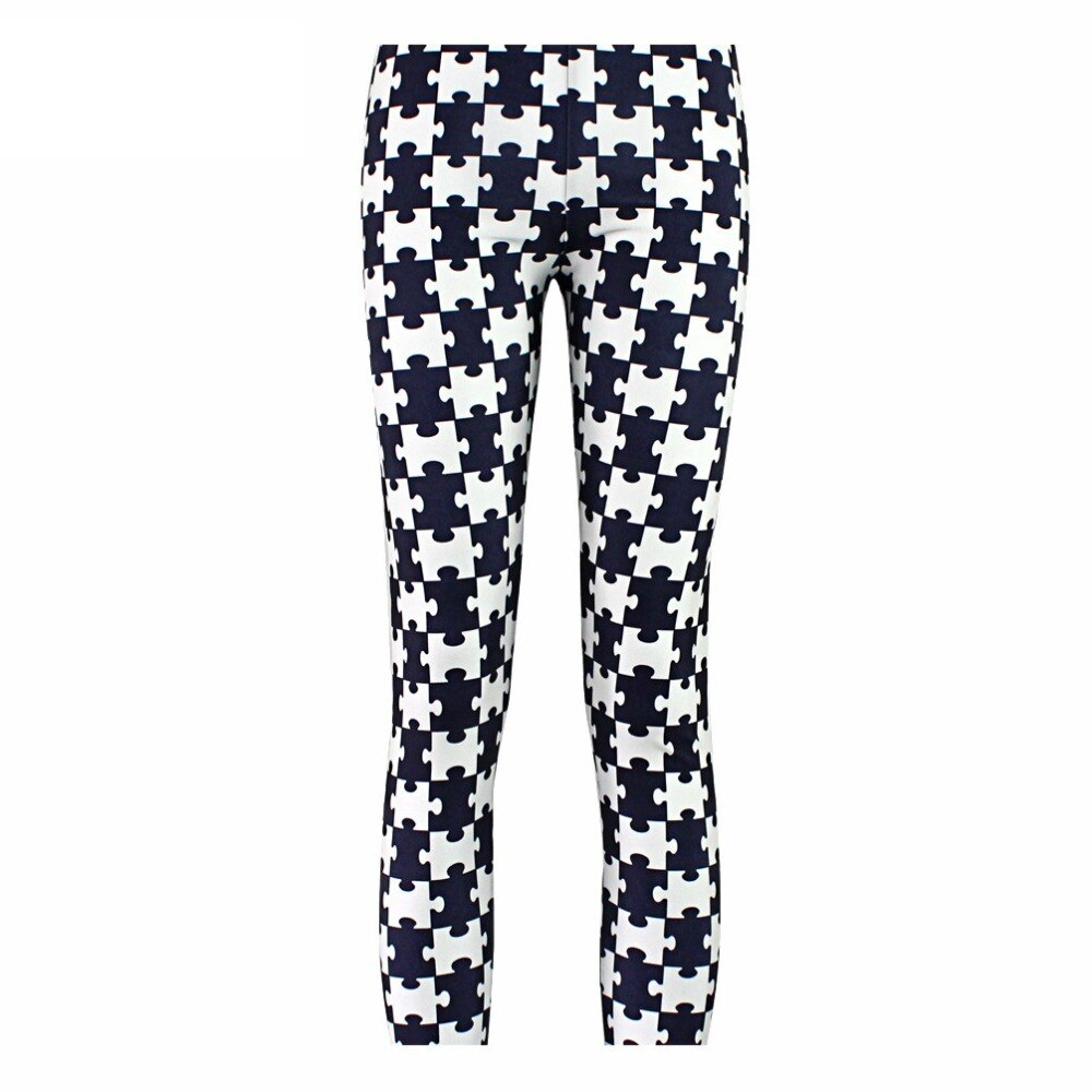 Zwart Puzzel Print Leggings Damesmode Legging Broek Ladie Sexy - Puzzle Print Leggings