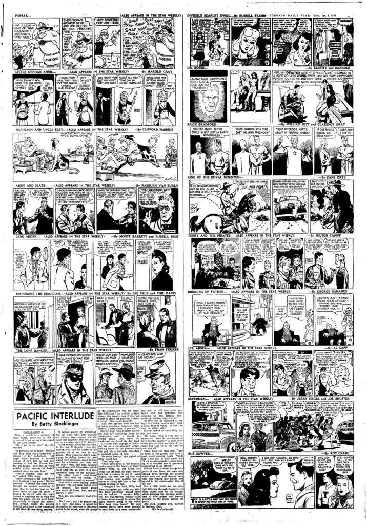 Lost Toronto Toronto Star Comics 1942