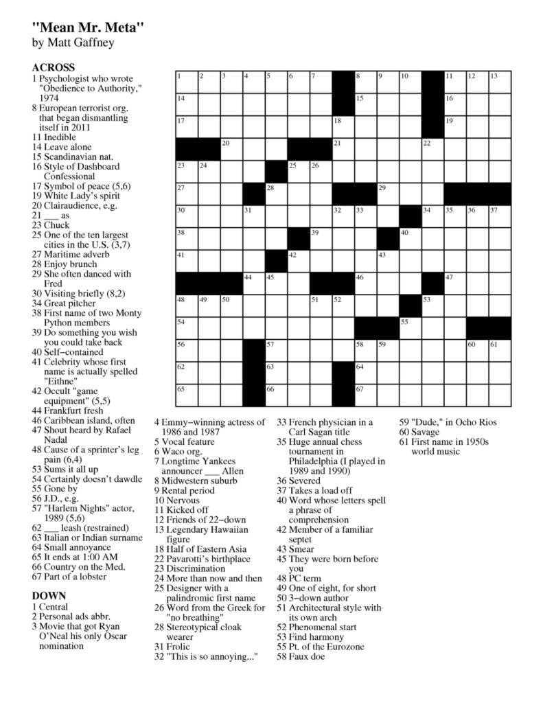 Printable Crossword Puzzles Toronto Star Printable